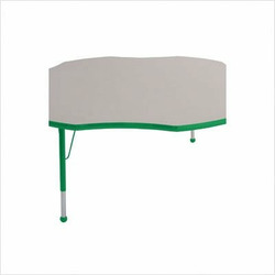 "60"" Flower Color Banded Adjustable Height Activity Table Frame Color: Green, Leg Height: 23"""