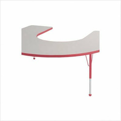 """60"""" x 66"""" Horseshoe Color Banded Adjustable Height Activity Table Frame Color: Red, Leg Height: 23"""""""