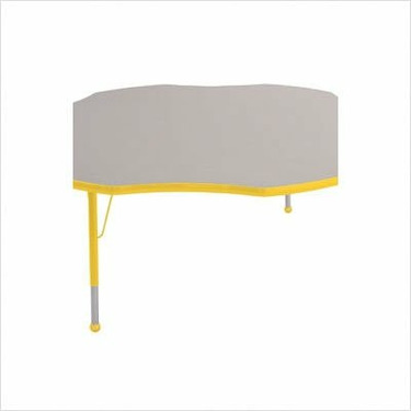 "60"" Flower Color Banded Adjustable Height Activity Table Frame Color: Yellow, Leg Height: 30"""