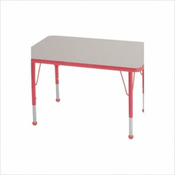 "Rectangular Color Banded Adjustable Height Activity Table Table Size: 30"" W x 48"" D, Frame Color: Red, Leg Height: 30"""