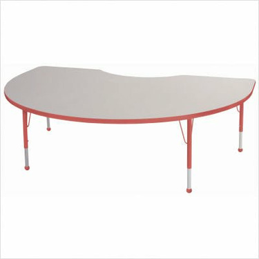 "48"" x 72"" Kidney Color Banded Adjustable Height Activity Table Frame Color: Red, Leg Height: 30"""