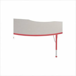 """48"""" x 72"""" Kidney Color Banded Adjustable Height Activity Table Frame Color: Red, Leg Height: 30"""""""