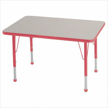"Rectangular Color Banded Adjustable Height Activity Table Table Size: 24"" W x 48"" D, Frame Color: Red, Leg Height: 30"""