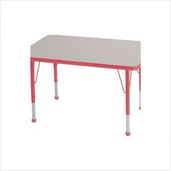 """Rectangular Color Banded Adjustable Height Activity Table Table Size: 24"""" W x 48"""" D, Frame Color: Red, Leg Height: 30"""""""