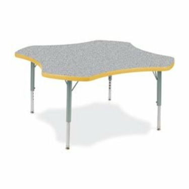 "Quick Ship: 4000 Series 48"" Clover Activity Table with Short Legs Laminate: Grey Nebula, Banding: Squash"