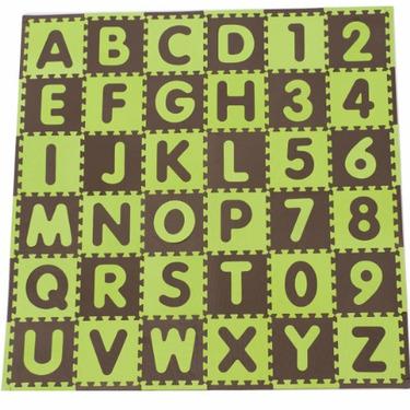 Tadpoles 60 Piece 36 Sqft ABC Floor Mat, Green/Brown