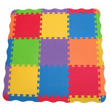 """Edushape Edu-Tiles 25 Piece 40""""x40"""" Solid Play Mat with Edges & Corners"""