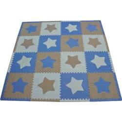 Tadpoles 48 Piece 16 Sqft Stars Playmat Set, Blue/Grey