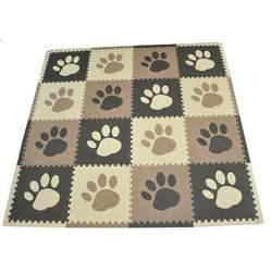Tadpoles 16 Piece 16 Sqft Pawprint Playmat Set, Brown