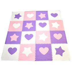 Tadpoles 48 Piece 16 Sqft Hearts and Stars Playmat Set, Pink/Purple/White