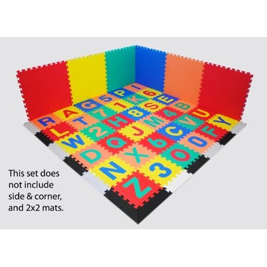 "Alphabet & Numbers Interlocking Soft Tiles - Each Mat: 12"" x 12"" x 4/8"" Thick"