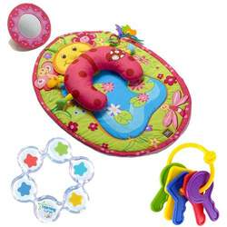 Tiny Love Tummy Time Fun Ladybug Activity Mat Plus The First Years First Keys Teether and Floating Stars Teether Bundle