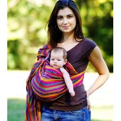 MAYA WRAP Lightly Padded Baby Ring Sling Carrier (MEDIUM - BRIGHT STRIPE)