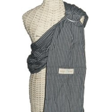 Maya Wrap Lightly Padded Ring Sling-New 2010 Colors (Medium, Dark Grey Stripe)