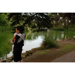 Japanese Baby Carrier Carry your baby 3 ways, Front Carry, Tummy to Tummy and Back Carry (Black and White Print)