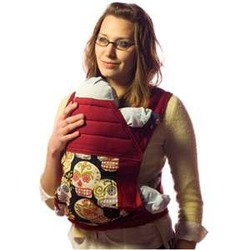 BabyHawk Mei Tai Baby Carrier Black Calaveras on Cherry Straps with Bonus Dainty Baby Reusable Bag
