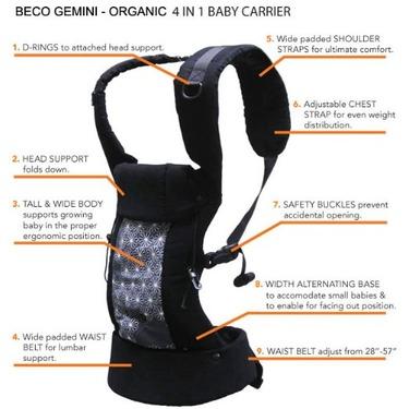 Beco Gemini 4-in-1 Baby Carrier - Espresso