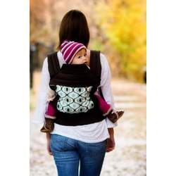 BabyHawk Oh Snap Baby Carrier Feeling Groovy on Espresso Straps with Dainty Baby Reusable Bag Bundle
