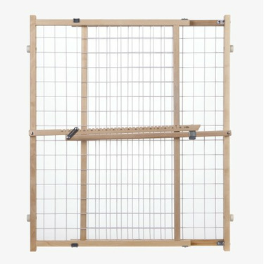 "North States Extra Wide Wire Mesh Gate - 32"" Tall Wood Pressure Mount Gate Fits Openings 29.5"" to 50"" Wide"