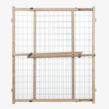 """North States Wire Mesh Gate 32"""" Tall Wood/Pressure Mount"""