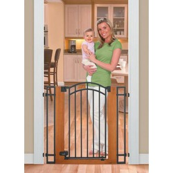 Summer Infant Stylish n' Secure Extra Tall Wood and Metal Walk Through Gate