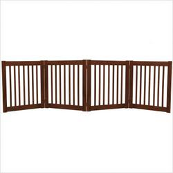 "Four 27"" Panel Free Standing Pet Gate in Mahogany"