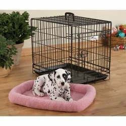 Fleece Crate Dog Bed Pink 41.75 x 27.75