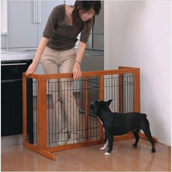 Tall Wooden Freestanding Pet Gate in Autumn Matte Finish Size: Small