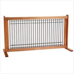 Freestanding Pet Gate Wire/Wood Large Cherry/Wire