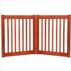 Freestanding Pet Gate 27 Inch 2 Panel Cherry