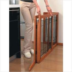 Tall Wooden Freestanding Pet Gate in Autumn Matte Finish Size: Large
