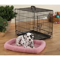 Fleece Crate Dog Bed Pink 35.75 x 22.75