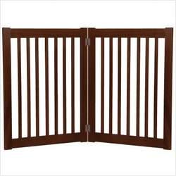 Freestanding Pet Gate 32 Inch 2 Panel Mahogany