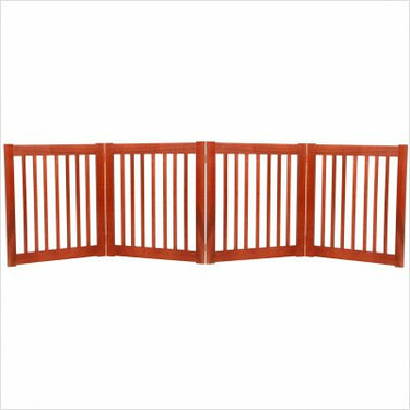 Freestanding Pet Gate 27 Inch 4 Panel Cherry