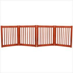 Freestanding Pet Gate 27 Inch 4 Panel Cherry
