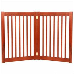 "Two 32"" Panel Free Standing Pet Gate in Medium Cherry"