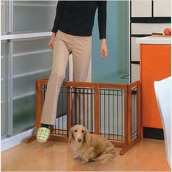 Freestanding Wooden Pet Gate in Autumn Matte Finish Size: Large