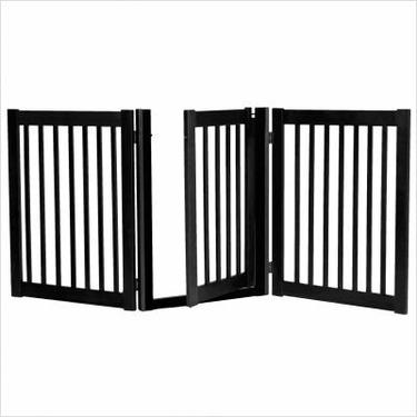 """32"""" Walk Through 3 Free Standing Pet Gate in Black"""