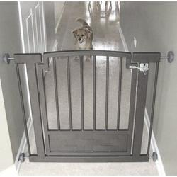 Metal Hallway Dog Gate - Black