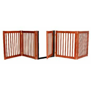 """32"""" Tall - Up to 108"""" Wide Walk Through Hardwood Pet Gate - Cherry Stain - Made in the USA"""