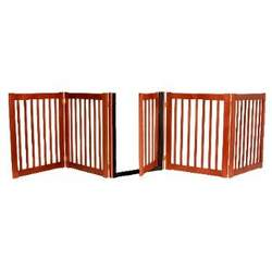 "32"" Tall - Up to 108"" Wide Walk Through Hardwood Pet Gate - Cherry Stain - Made in the USA"
