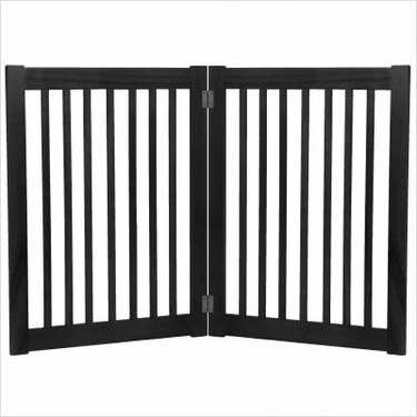 """Two 32"""" Panel Free Standing Pet Gate in Black"""