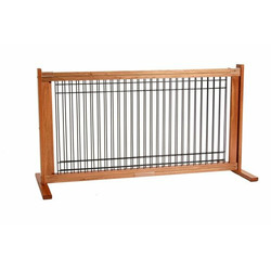 Dynamic Accents 42103 20 Inch Wood and Wire Large Free Standing Gate - Medium Cherry