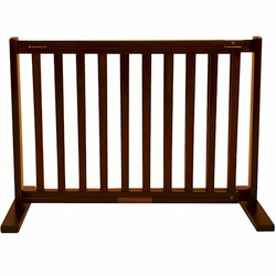 Small Free Standing Pet Gate - Mahogany