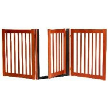 """32"""" Tall - Up to 60"""" Wide Walk Through Hardwood Pet Gate - Cherry Stain - Made in the USA"""
