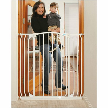 Security Gate - Extra Tall Hallway Swing Closed in White