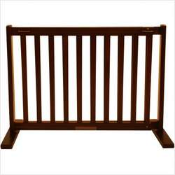 Freestanding Pet Gate 20 Inch Small Mahogany