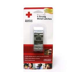 American Red Cross Ultra Strong Metal Cabinet and Drawer Safety Latches, 4-Pack