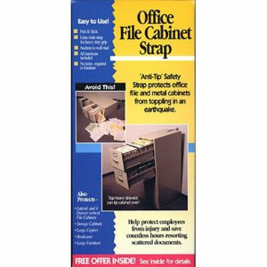 Office File Cabinet Strap for Earthquakes, Emergency Disaster Prepardeness, Office Safety