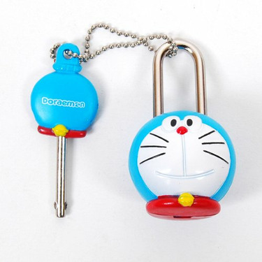 Doraemon Figure Mini Lock Key Security Toy Blue